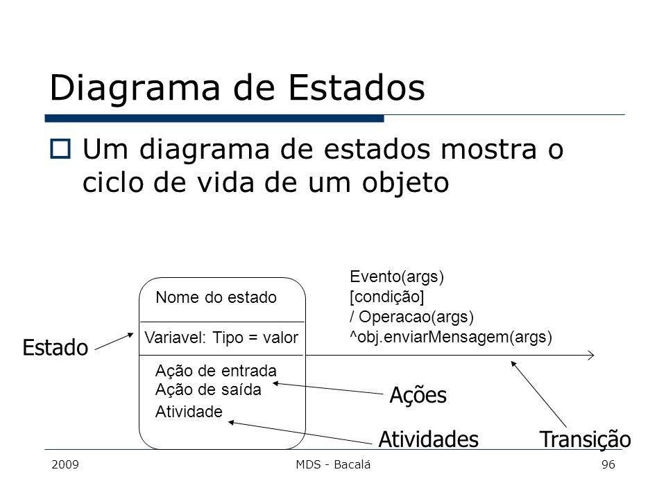 Diagrama de Estados Um diagrama de estados mostra o ciclo de vida de um objeto. Evento(args) [condição]